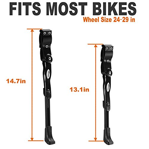 Toptrek Fahrradständer Einstellbarer Universal Hinterbauständer Aluminiumlegierung Fahrrad Ständer Anti-Rutsch Seitenständer für 24-28 Zoll Mountainbike/Rennrad/BMX/MTB - 3