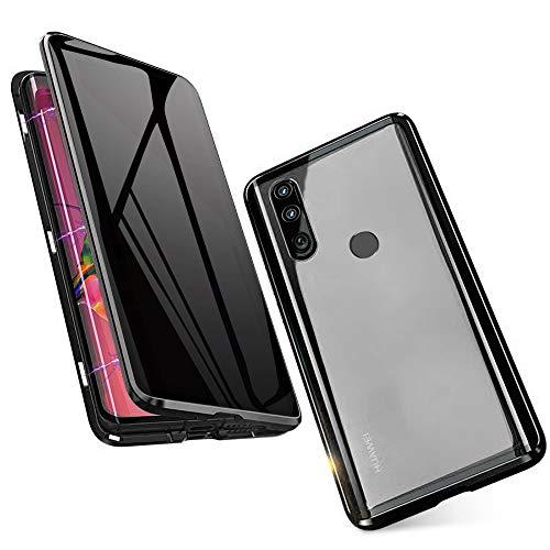 Jonwelsy Anti-Spy Funda para Huawei P30 Lite, 360 Grados Proteccion Case, Privacidad Vidrio Templado Anti espía Cover, Adsorción Magnética Metal Bumper Cubierta para Huawei P30 Lite (Negro)