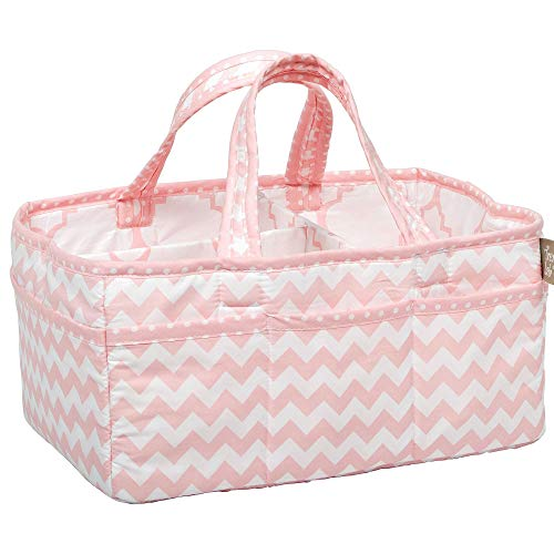 Pink Sky Chevron Zig Zag Nursery Diaper Storage Caddy - Portable Organizing Fabric Tote Bag
