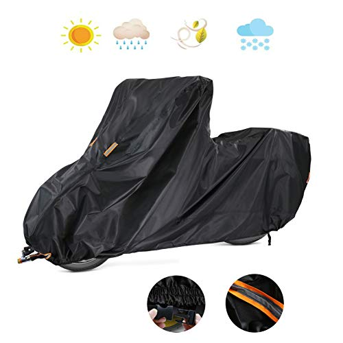 POMER Motorcycle Scooter Cover, Waterproof Heavy Duty Moped Cover Fits 250cc Cruiser Big Sheep Motorcycle - 104x41x49inch Motorcycles Vehicle Cover