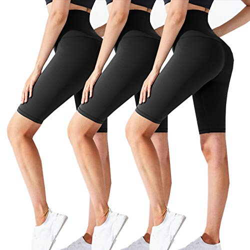 CTHH 3 Pack Workout Biker Shorts for Women-High Waisted Running Athletic Shorts for Women Yoga Gym Womens Shorts (3Pack-A(Black,Black,Black), Large-X-Large)