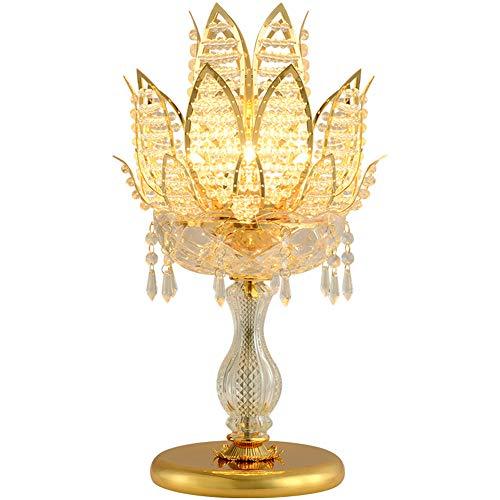 Cristal Lotus Modelado Lámpara Escritorio,G4 Dorado Metal Espesor Base Vidrio El Cuerpo De La Lámpara Lámpara De Mesa,Clásico Sencillez Dormitorio Sala De Bodas Cabecera Decoración-Dorado 11.8'×18.9'
