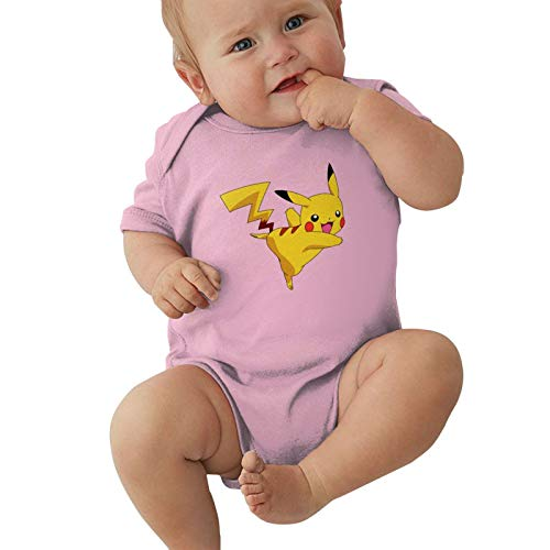 Supferbbt Pikachu Unisex Baby Pikachu Cotton Short-Sleeve Infant Bodysuit Funny Onesies Pink