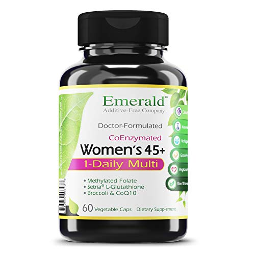Women's 45+ 1-Daily Multi - Multivitamin with CoQ10, Vitamin K2 (MK-7) & Extra Calcium - Supports Healthy Heart, Strong Bones, Balanced Hormones, & More - Emerald Labs - 60 Vegetable Capsules
