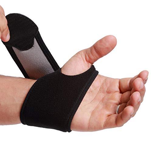 Muñequera ancha de sujeción (1 Unidad) - Ligera, elástica y transpirable - Para aliviar los músculos - Compresión ajustable - Marca Neotech Care - Negro (Talla M)