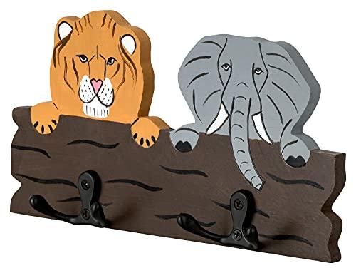 Portemanteau mural pour chambre d enfant Le roi de la jungle – Lion & éléphant Baguette en bois avec 4 crochets 21,5 x 11 x 1 cm