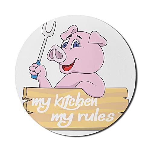 Schwein Maus Pad für Computer, Schwein Chef BBQ Grill Gabel Zangen Fast Food Maskottchen Charakter Grill Holz Menü Thema Druck, Runde rutschfeste dicke Gummi Modern Gaming Mousepad, 8 'rund, Pink Weiß