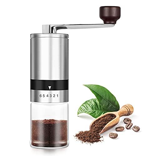 innislink Manuelle Kaffeemühle, Kaffeemühle Hand aus Edelstahl HandKaffeemühle kegelmahlwerk, Espressomühle handmühle mit 6 Mahlgradeinstellung, Tragbare Kaffee Mühle manuell Kapazität 35g - Silber