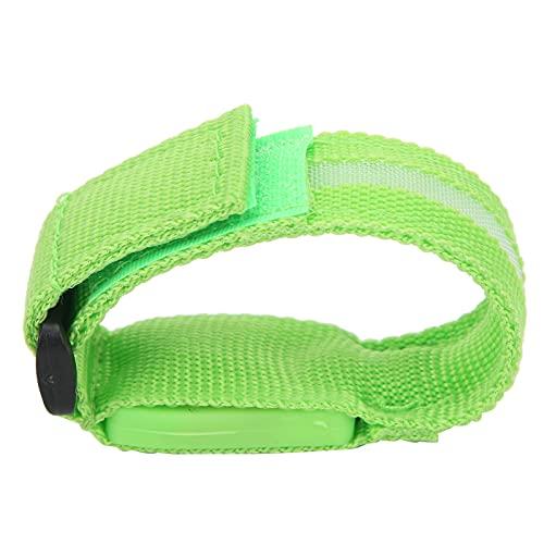 Voluxe Pulsera iluminada, Brazalete LED con Correas de Nailon, Brazalete LED para Ciclismo, para pasear Perros, para Acampar, para Trotar(Green)