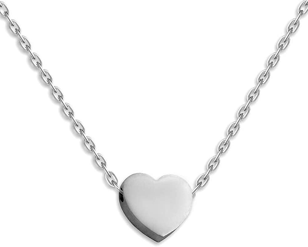 Stainless Steel Sliding Float Heart Shaped Charm Necklace