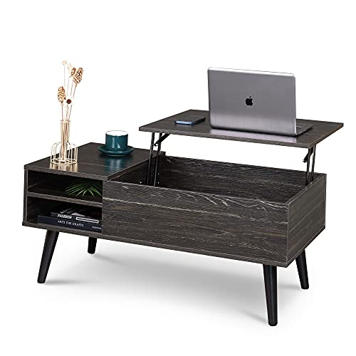 WLIVE Wood Lift Top Coffee Table with Hidden Compartment and Adjustable Storage Shelf, Lift Tabletop...