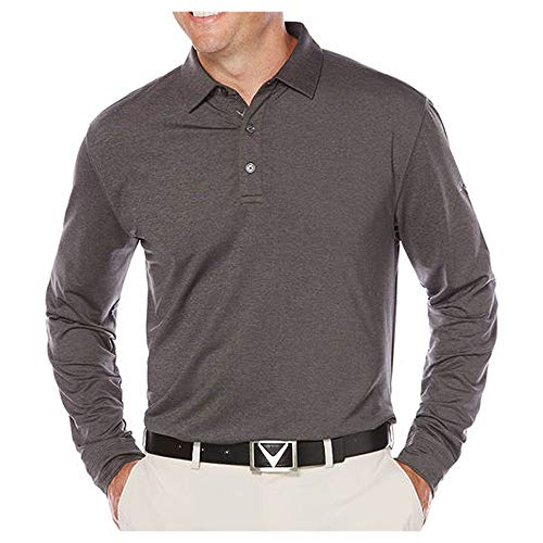 Callaway Men's Long Sleeve French Terry Heathered Solid Polo, Castlerock Heather (073), Large