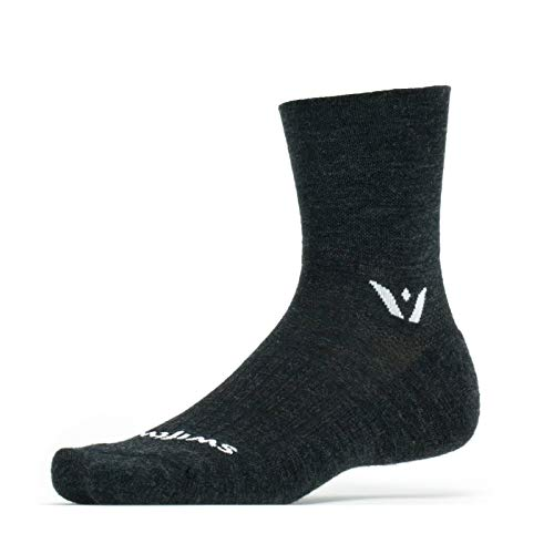 Swiftwick - Pursuit FOUR, Quarter-Crew Socks for Trail Running and Mountain Biking, Coal, Large