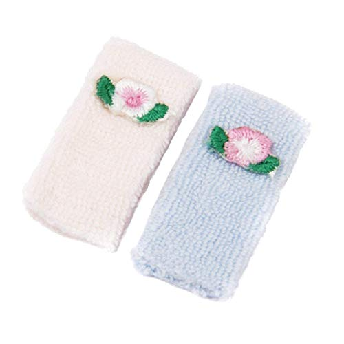 Ndier casa de muñeca de toalla de baño de 1/12 Casa de muñecas en miniatura Toallas de accesorios miniatura de los muebles de la casa de muñecas DIY (rosa, azul)
