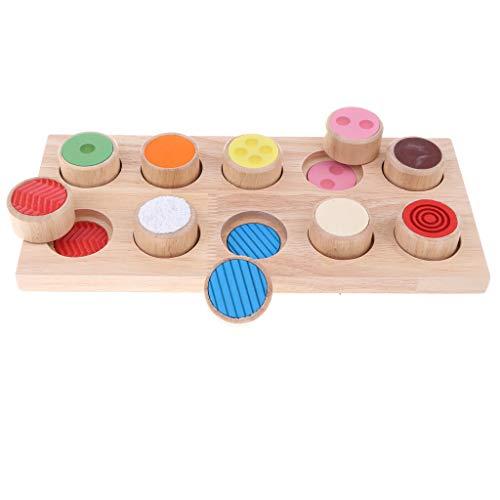 B Blesiya Juguete Montessori de Madera Tablero Sensorial de Cilindros Madera Juego para Desarrollo de Capacidad de Memoria
