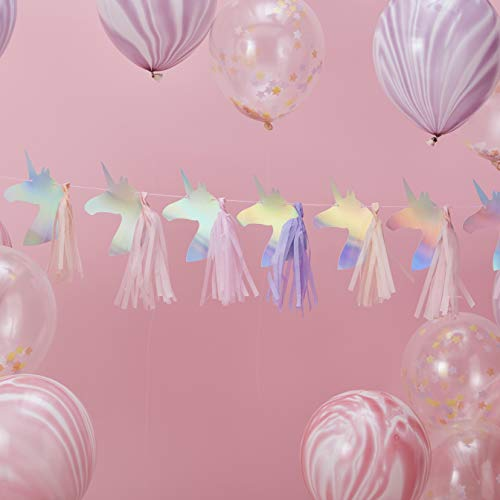Ginger Ray Iridescent Foiled Unicorn Party Bunting Garland Tassels, Multicolour