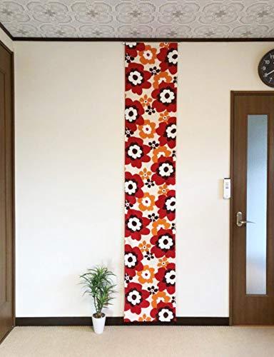 パネルカーテン ロングスクリーン 間仕切り パーテーション 目隠し のれん カーテン 冷暖房効率アップ おしゃれ デザイン 壁掛け タペストリー 北欧 マリメッコ調 (幅45×丈240 cm)