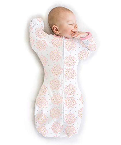 SwaddleDesigns Transitional Swaddle Sack with Arms Up Half-Length Sleeves and Mitten Cuffs, Heavenly Floral, Pink, Medium, 3-6 Months (Parents' Picks Award Winner)