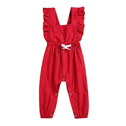 Topkeal - Pelele sin mangas para niña, mono plisado, mono monocromo para niños pequeños, pantalón largo rojo 100 cm