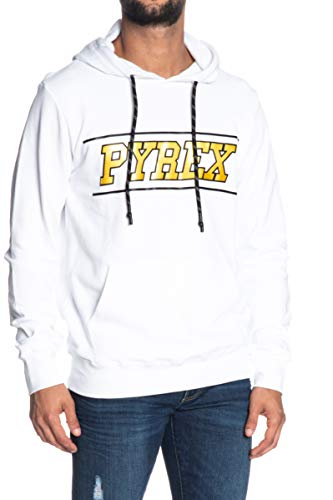 PYREX 19EPB40051 Felpa Unisex Con Cappuccio Stampata Bianco S