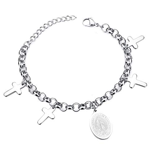 CHOUREN Pendant Necklace Charming Attractive Bracelets for Men/Women & Christianity Cross Pendant Jewelry Virgin Mary Pattern Adjustable Bracelet, Best Gift for Her/Him,Colour:Silver (Color : Silver)