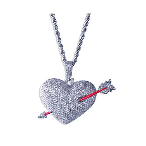 Moca Men Hip Hop Iced Out Bling Cupid's Arrow Love Heart Broken Pendant 18K Gold Plated Chan Couple Necklace (Silver)