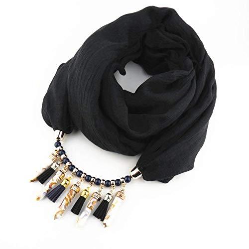 YUANCHENG Multi-Estilo de joyería Decorativa Collar de Perlas Colgante Bufanda Mujer Suave Foulard Femme Cabeza Bufandas Hijab Bufandas Accesorios Negro