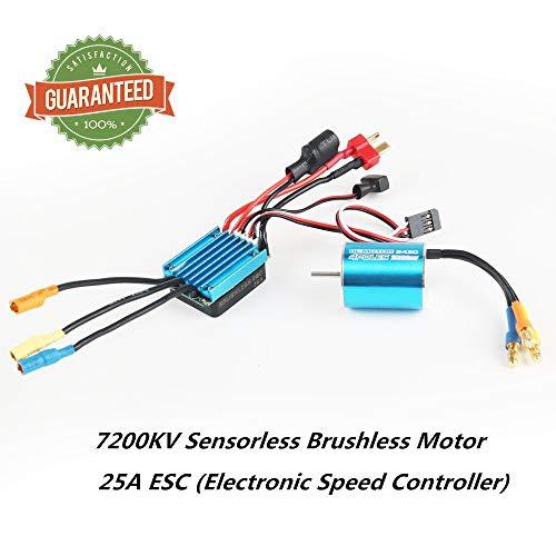 RCRunning 2430 7200KV 2mm Shaft Sensorless Brushless Motor with 25A ESC, Motor ESC Combo for 1/16 1/18 RC Car