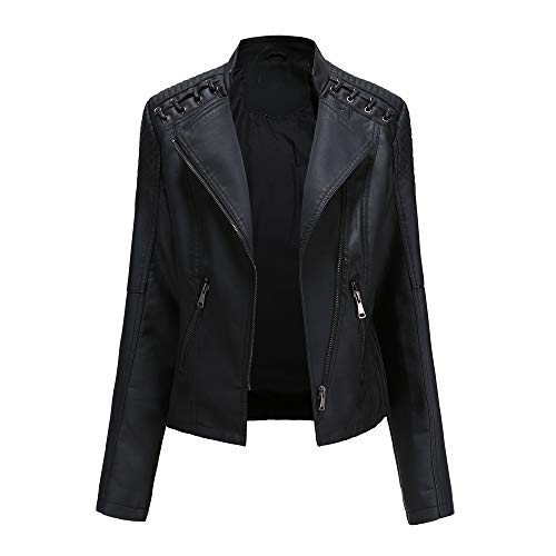 AicciAizzi Mujer Casual Chaquetas PU Cuero Manga Larga Otoño Tops Cremallera Pockets Biker Coat Slim fit Black-L