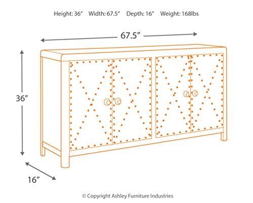 Ashley Furniture Signature Design - Rock Ridge 4-Door Accent Cabinet - Antique Gunmetal Finish - Black Metal Door Pulls - Nailhead Trim