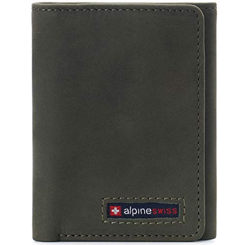 Alpine Swiss Leon Mens RFID Safe Trifold Wallet Cowhide Leather Comes in a Gift Box Olive
