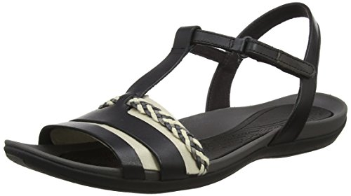 Clarks Damen Tealite Grace T-Spange Sandalen, Schwarz (Black Leather), 36 EU