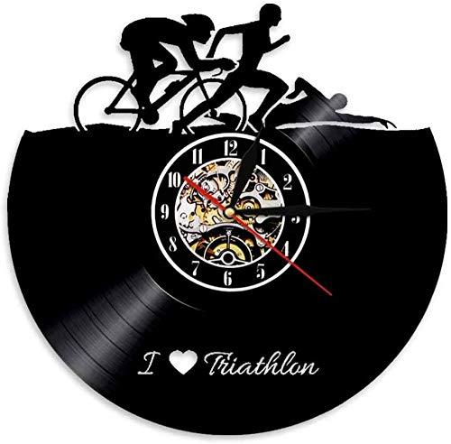 ZZLLL Deportes Natación Correr Ciclismo Disco de Vinilo Reloj Hecho a Mano Deportes Pareja Regalo Retro Atleta Decoración del hogar Reloj de Pared de triatlón 12 Pulgadas