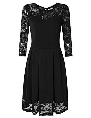 KOJOOIN Damen Elegant Kleider Spitzenkleid Langarm Cocktailkleid Knielang Rockabilly Kleid Schwarz M