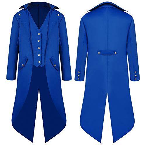 SwissWell Herren Steampunk Vintage Gothic Jacke warme Frack Herrenjacke Knöpfe Langer Mantel Cosplay Kostüm Graben Bomberjacke Cape mit Weste,Blau,EU-M/Herstellergröße-XL
