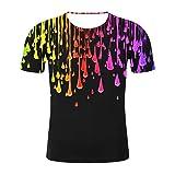 UINGKID Plus Homme Multicolore T-Shirt de Sport Amusement Imprimé Animal Col Rond Manches Courtes Tee Shirt Hauts