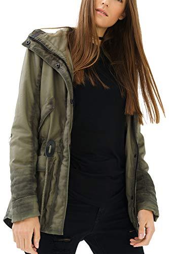 trueprodigy Casual Damen Marken Parka mit Leder Details Damenjacke Cool Stylisch Vintage sportlich Slim Fit Jacke für Frauen, Farben:Khaki, Größe:XL