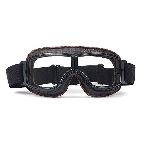 Triclicks Occhiali Marroni Goggle Moto Retrò Old Style Lente Trasparent