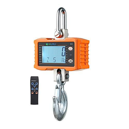 Hanging Scale,Klau 1000 kg 2000 lb Digital Industrial Heavy Duty Crane Scale LCD Display with Remote Orange for Home Farm