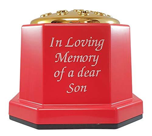 INERRA Memorial Grave Vaas - Rood met Gouden Deksel - Zware & Stevige Pot Container voor Graveside Bloem Regelingen Son Red with white text and gold lid