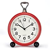 CREULT Retro Alarm Clock Simple Small Clocks for Bedrooms or Bedside, Ok to Wake Clock Vintage Design, Can be Placed On The Table Quartz. (Red Sheel)