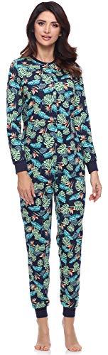 Merry Style Pijama Entero Una Pieza Ropa de Casa Mujer MS10-187 (Azul Marino/Hojas, L)