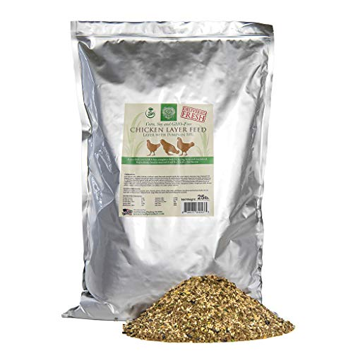 Small Pet Select Chicken Layer Feed. Non-GMO, Corn Free, Soy Free. Locally Sourced In The Pacific Northwest. Made in Small Batches Ensuring The Highest Quality Product, 25 lb,Green