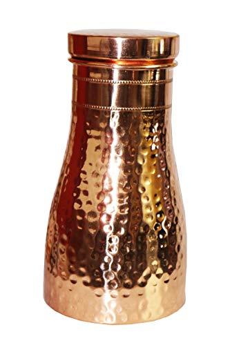 NK GLOBAL 1 STK. Kupferflasche Dekorative Schlafzimmerflasche Gehämmerte Trinkflasche Nachttisch Wasserflasche Diwali Geschenke