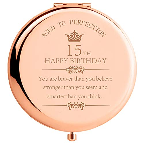15 Year Old Girls Gifts for Birthday You are Braver Than You Believe Strong Than You Seem Inspirational Unique 15th Birthday Gift Ideas for Teen Girl Makeup Compact Mirror for Daughter Sister Niece