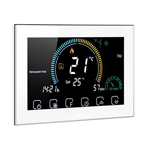 Termostato Inteligente WiFi Controlador, Termorregulador de calefacción de Caldera de Agua/Gas con índice UV Función de Bloqueo de Pantalla de Humedad Compatible con Amazon Echo Google Home