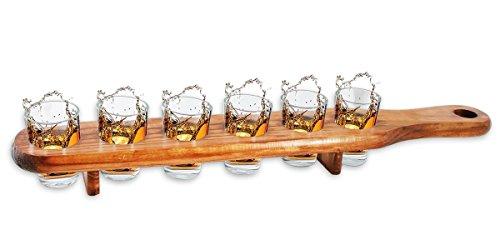6 Shooter Gläser mit Servierlatte aus Holz - 45 cm - Cooles Party und Kneipen Gadget