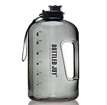 BOTTLED JOY Grande bouteille d'eau 1,5 l sans BPA Anti-fuite Bouteille de sport avec marquage de l'heure motivant pour le fitness, le bureau, les voyages, le camping, l'escalade - Gris