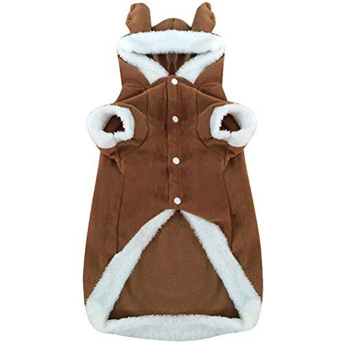 Hond Kleding Huisdier Warm Kerst Kostuum Hooded - Grote Hond Jas Elk Huisdier Cosplay Kleding Ademend Machine Wasbaar 1 stks Huidvriendelijk Comfortabel Bruin