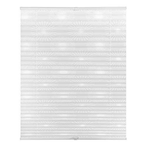 Lichtblick PKT.080.130.101 Plissee Klemmfix, ohne Bohren, verspannt, Ausbrenner Weiß Sonne, 80 cm x 130 cm (B x L)